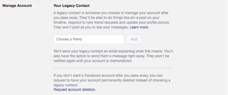 your legacy contact FB
